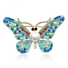 Rinhoo Fashion Cartoon Rhinestone Brooches Women Children Elephant Penguin Lobster Butterfly Animal Small Pins Jewelry Gift butterfly-blue