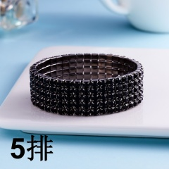 5 Rows-Elastic Bracelet Full Crystal Rhinestone Bangle Womens Wedding Bridal Jewellery Black