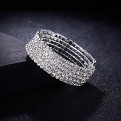 Crystal Rhinestone Stretch Bracelet Bangle Wristband Wedding Bridal Jewelry Gift 5 Rows