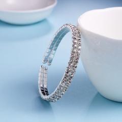 Rihoo Hot 2 Rows Rhinestone Wedding Bridal open Bracelet Bangle gold silver Wristband Women Jewelry gift fashion silver