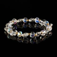 Rinhoo New colorful Crystal Beads Bracelet Sweet butterfly beaded Elastic Bracelet Bangle Charm Jewelry For Women girl bracelet 8mm butterfly