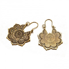 Retro Gold Silver Plated Carving Flower Shape Drop Dangle Earrings Gold