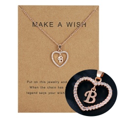 26 Letter A-F Crystal Heart Necklace Pendant Sweater Women Charm Jewelry B