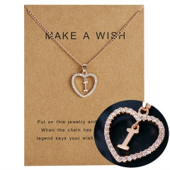 G-K Letter Crystal Heart Necklace Pendant Sweater Women Charm Jewellery K
