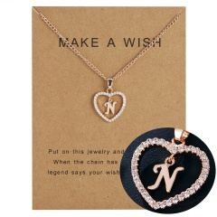 Womens Gold Plated Initial Alphabet Letter L-P Pendant Chain Necklaces N