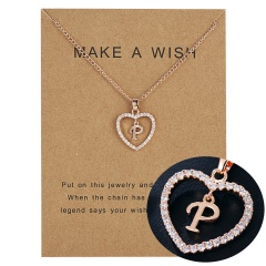 Womens Gold Plated Initial Alphabet Letter L-P Pendant Chain Necklaces P
