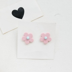 Lovely Women Grirl Handmade Acrylic Resin Flower Ear Stud Earrings Charm Jewelry Pink