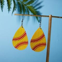 Fashion Women Sport Ball Leather Earrings Boho Teardrop Dangle Ear Stud Jewelry waterdrop baseball