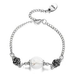 Rinhoo heart bracelet silver alloy hollow heart ball shape geometric charm Bracelet fashion jewelry for women ball shape