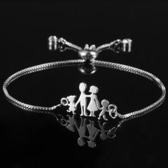RINHOO Silver Color Stainless Steel Bracelets For Women Bangle Chain Jewelry Wedding Bride Heart Rose Family Mother Bracelet Gift Bracelet 2