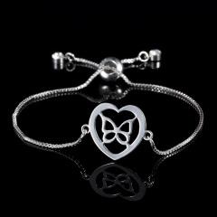 RINHOO Silver Color Stainless Steel Bracelets For Women Bangle Chain Jewelry Wedding Bride Heart Rose Family Mother Bracelet Gift Bracelet 7
