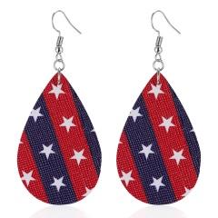 Fashion Earrings Flag Stars Leather Leaf Women Boho Ear Hook Earrings Holiday Red Blue Teardrop