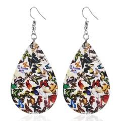 Bohemian Animal Butterfly Print Drop Earrings For Women Vintage Waterdrop Leaf Leather Dangle Earring Gift Jewelry Teardrop