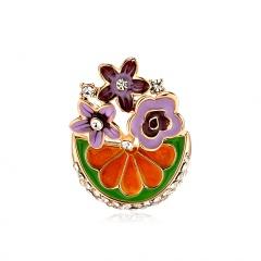 Rinhoo Cartoon Cats Plant Fruit Brooch Enamel Pin Metal Badge Brooches for Women Fashion Jewelry Vintage Gold Wedding Brooch Pin watermelon1
