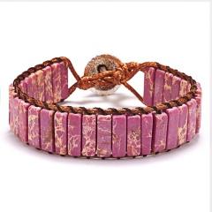 Vintage Braid Bracelets Natural Stone Round Beads Leather Wrap Bracelet for Women Multilayer Boho Bracelet Handmade Jewelry pink