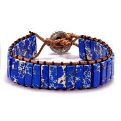 Vintage Braid Bracelets Natural Stone Round Beads Leather Wrap Bracelet for Women Multilayer Boho Bracelet Handmade Jewelry blue