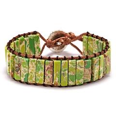 Vintage Braid Bracelets Natural Stone Round Beads Leather Wrap Bracelet for Women Multilayer Boho Bracelet Handmade Jewelry green