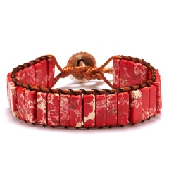 Vintage Braid Bracelets Natural Stone Round Beads Leather Wrap Bracelet for Women Multilayer Boho Bracelet Handmade Jewelry red