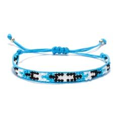 Rinhoo Bohemian Beaded Braided Rope Bracelet Multicolor small Beads Weave Chain adjustable bracelets jewelry gift for women girl sky blue