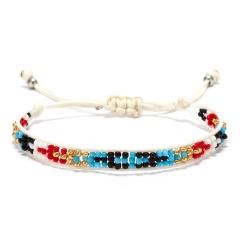 Rinhoo Bohemian Beaded Braided Rope Bracelet Multicolor small Beads Weave Chain adjustable bracelets jewelry gift for women girl multicolor