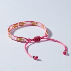 Rinhoo Bohemian Beaded Braided Rope Bracelet Multicolor small Beads Weave Chain adjustable bracelets jewelry gift for women girl pink