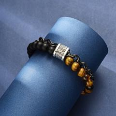 Rinhoo Natural stone Beads Stainless steel chain Men Bracelet Double layer chain stone Beaded Bracelet Punk Jewelry Bracelets brown-black