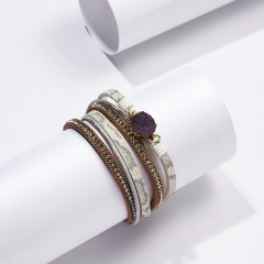 Rinhoo vintage leather Magnetic buckle bracelet Multi-layer Leather Wrap Bracelet charm jewelry gift for women purple Natural stone