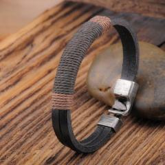 Vintage Leather Rope Braided Bracelet Men's Punk Bracelet Jewelry Gift black