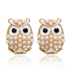Fashion Diamond-Studded Owl Earrings White