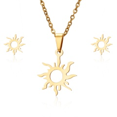 Lovely Heart Sun Stainless Steel Stud Earrings Necklace Set Charm Jewelry Gift Gold sun