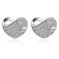 Chic Elegant Crystal Heart Stud Earrings Dangle Womens Fashion Jewelry Heart