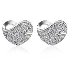 Chic Elegant Crystal Heart Stud Earrings Dangle Womens Fashion Jewelry Heart