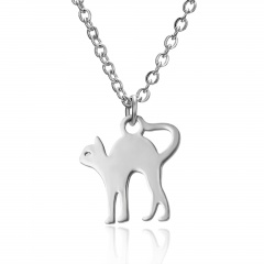 Silver Stainless Steel Animal Cat Elephant Pendant Necklace Fashion Jewelry Gift Cat