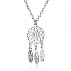 Silver Stainless Steel Animal Cat Elephant Pendant Necklace Fashion Jewelry Gift Dreamcatcher