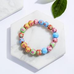 Rinhoo Multicolor Soft pottery beads bracelet Painted Flower beaded Elastic bracelet Ethnic Bohemia jewelry gift for women girl 10mm