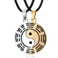 Fashion Eight Diagrams Universe Tai Chi Yin Yang Taoism Stainless Steel Couple Necklace necklace3
