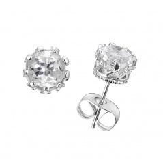 18K Gold/18K Rose gold/Platinum plating Women Crystal Gemstone Dangle Drop Ear Stud Wedding Fashion Earrings Jewelry Platinum-White