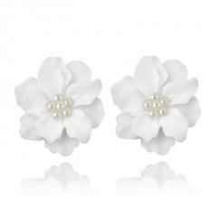 Fashion Big Flower Earrings Ear Stud White