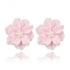 Fashion Big Flower Earrings Ear Stud Pink