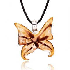 Coffee Color Butterfly Glass Necklace Coffee