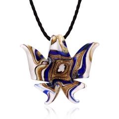 Handmade Lampwork Murano Glass Butterfly Pendant Necklace Black