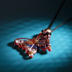 Lampwork Glass Butterfly Pendant Necklace Boho Women Jewelry Red&Purple