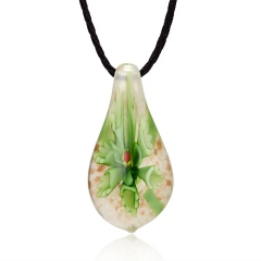 Gold Foil Drop Flower Lampwork Glass Murano Pendant Necklace Fashion Women Jewelry Green