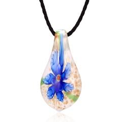 Gold Foil Drop Flower Lampwork Glass Murano Pendant Necklace Fashion Women Jewelry Dark Blue
