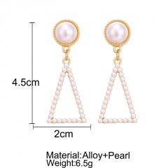 Fashion Boho Geometric Pearl Drop Dangle Earrings Women Charm Party Jewelry Gift Triangle