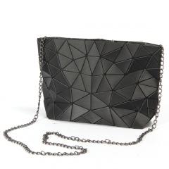 Women Chain Shoulder Bag Luminous sac Bag Zipper bag Geometry Messenger Bags Plain Folding Crossbody Bags Black