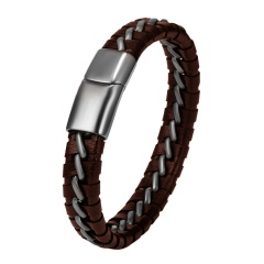 Men Leather Bracelet Brown Silver