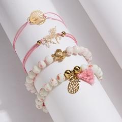 Rinhoo 1SET Boho Women Pineapple Tassels Dreamcatcher Heart Coconut Tree Chain Bead Leather Bracelet Set Charm Fashion Accessories Bracelet 3