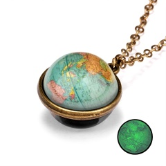 Galaxy Universe Glass Ball Pendant Glow in the Dark Necklace Moon