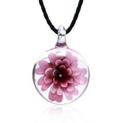 Transparent Round Inner Flower Glass Necklace Long Leather Chain For Women Pink Color